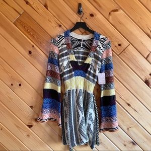 NWT Free People Patchwork Sweater Dress XS Wool